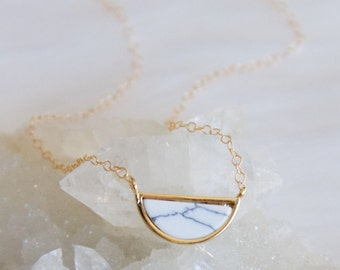 Valentines Day Gift, White Marble Crescent Necklace