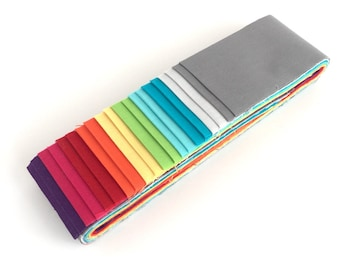 Quilting Pre-cut Strip Set in Makower's Spectrum Solids - 20pc - Jelly Roll, Fabric Strips, Quilting Fabric