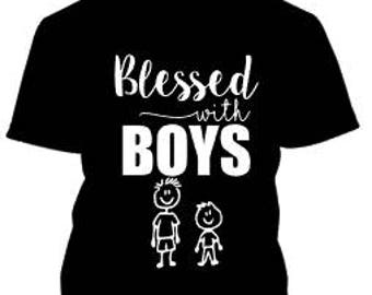 Blessed With Boys iron on / blessed mama iron on / mom of boys iron on / blessed with kids