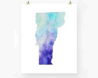 vermont map watercolor printable vermont state silhouette blue wall art decor digital print digital print instant download jpg pdf