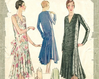 1920s 1930s vintage sewing pattern flapper day or evening dress bias cut drop waist PICK YOUR SIZE bust 32 34 36 38 40 reproduction