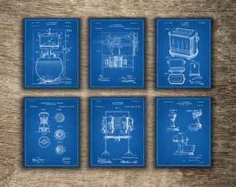 Kitchen Blueprint, Kitchen Wall Art Printable, Kitchen Patent, Kitchen Posters, Kitchen Art, Kitchen Set Of 6 Prints - INSTANT DOWNLOAD -