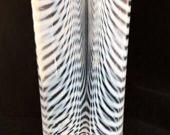 Kosta Boda Opalescent Art Glass Zebra Vase Bertil signed Vallien