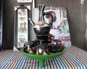 Original Ethiopian Black Coffee Ceremony Set Ceramic Set Of 4 Demitasse  Cups Tribal Painted Coffee Espresso