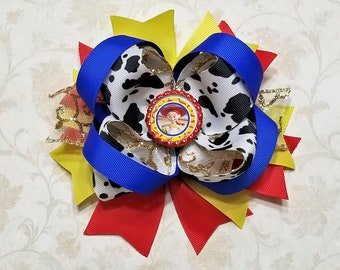 Jessie Princess Bow or Headband / Toy Story / Woody / Blue Red & Gold / Cow / Disney / Pageant / Photo Prop/ Bling Boutique Bow / Baby Girl