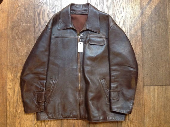 """Vintage 1950s 50s French brown chrome tanned leather Canadienne jacket zip up rockabilly 51"""" chest car coat moleskin lining"""
