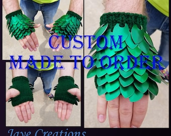 Custom Small Knitted Scalemail Gauntlets - MADE TO ORDER - One Scale Color, One Yarn Color - JayeCreations