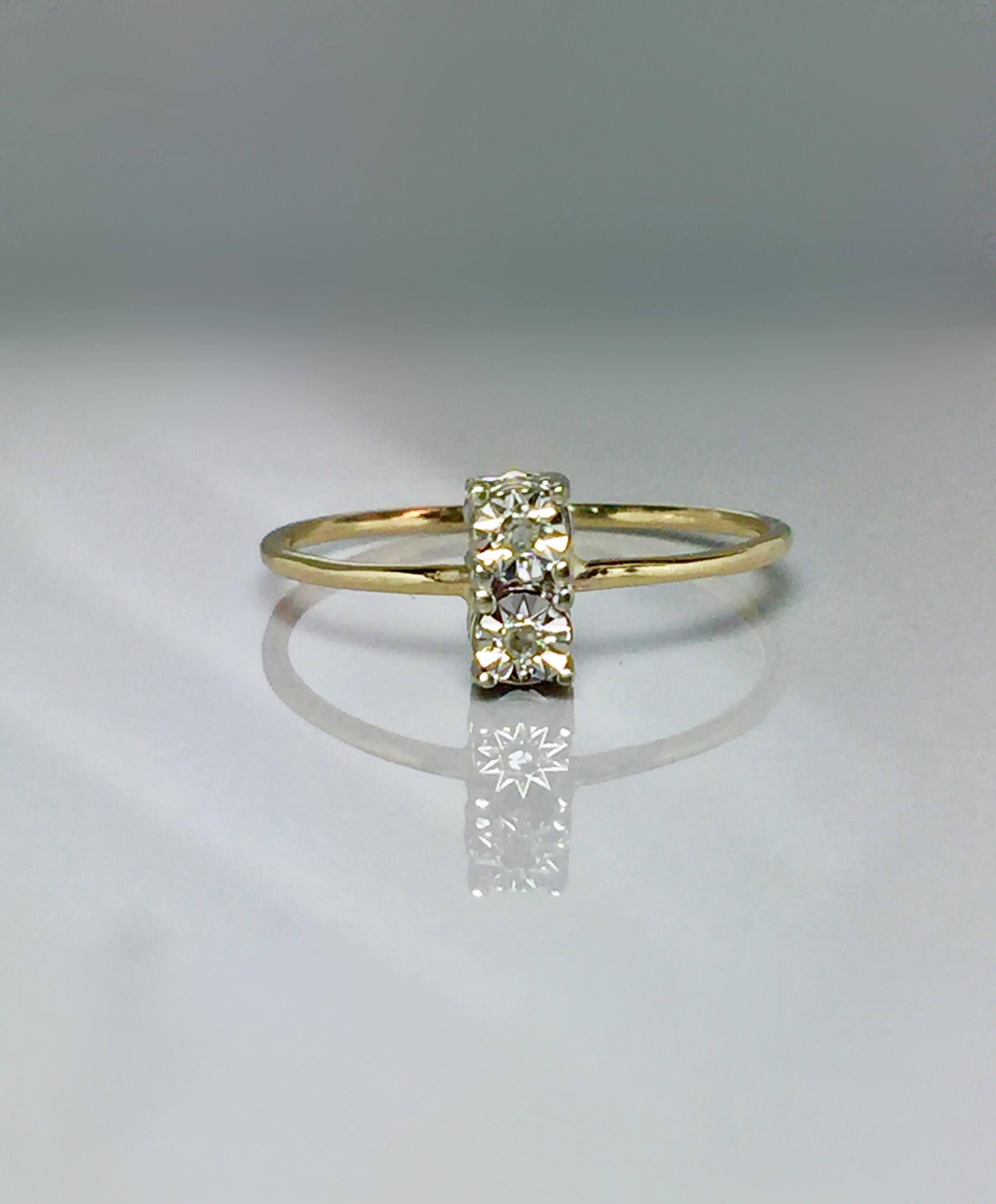 10k solid gold Ladies Diamond Ring Girls Gold Ring Midi