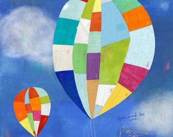 Hot Air Balloon Ride, Canvas Art Print, Nursery and Kids Room Decor
