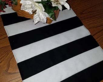 Black White quilted stripe table runner
