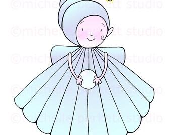 digital download, printable, cute, digital stamp, scrapbooking, paper crafting, cardmaking, seashell, angel, baby girl, sweet, children