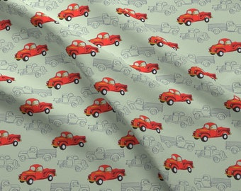 Vintage Trucks Fabric - Larageorgine 50s Vintage By Larageorgine - Vintage Red Trucks On Green Cotton Fabric By The Yard With Spoonflower