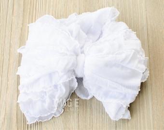 Messy Ruffle Bow Headband - White