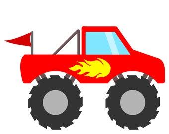 monster truck flames etsy rh etsy com monster truck clip art free for birthdays monster truck clip art black and white