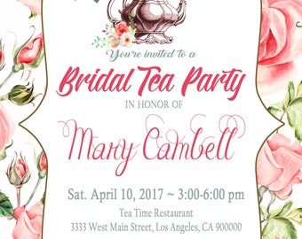 Tea Party Birthday Invitation // Printable Tea Shower Invitation // Tea Party  // Time for Tea // Bridal Shower Floral Birthday