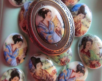 Vintage Asian Woman Glass Cabochon Made In Western Germany