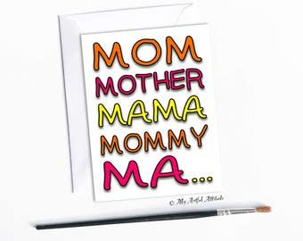 Muttertagskarte, lustige Geburtstagskarte für Mama, dumme Mama, Mommy, Ma, einzigartige handgefertigte Karten