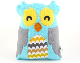 Light Blue Owl Plush, bird, stuffed animal, baby gift, owl, cute, cuddly, child friendly, plushie