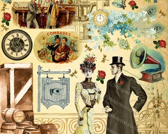 Steampunk Wedding Clipart, Digital Collage Sheet, Steampunk Elements and Grunge Background, Instant Printable Download