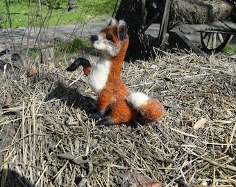 felted fox,felted animals,needle felted animal,sitting fox toy, Needle felted w,handmade animal.