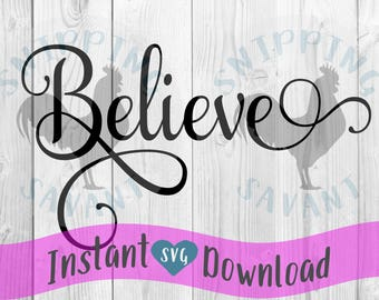 Believe word faith religious Vector Clip Art svg Design File, Cut File Silhouette and Cricut