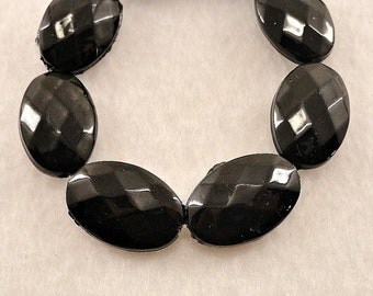 19mm BLACK Oval Faceted Plastic Beads Painted 28 Pcs