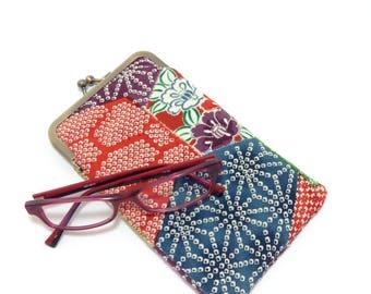 Geometric eye glass case/ Smartphone case /Vintage Japanese Kimono fabric case /Sun glass case / Hand-made/10
