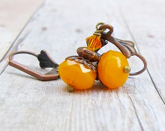 Pumpkin Orange - vintage style antique copper earrings