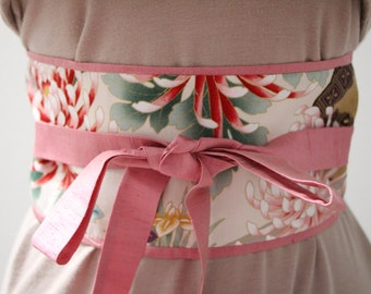 ON SALE - 39 instead of 45 - Medium Pink Dupioni silk - Obi Belt - Japanese belt - reversible Springtime Dreamscape: cream/Gold Metallic