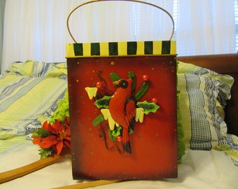 Basket Metal Holiday With Cardinal and Mistletoe Accents Vintage Storage Gift Idea Gift Basket Home Decor Holiday Decor Christmas Decor
