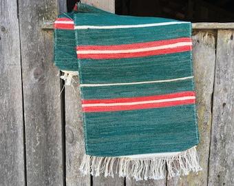 Scandinavian woven rag rug Swedish vintage rug Table or floor runner Green red white striped rug Multicolored rag rug