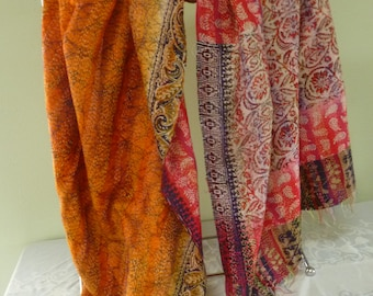 Vintage silk Kantha, FREE SHIPPING, wrap, large silk scarf, reversible, carmine red and golden orange, table runner, home decor