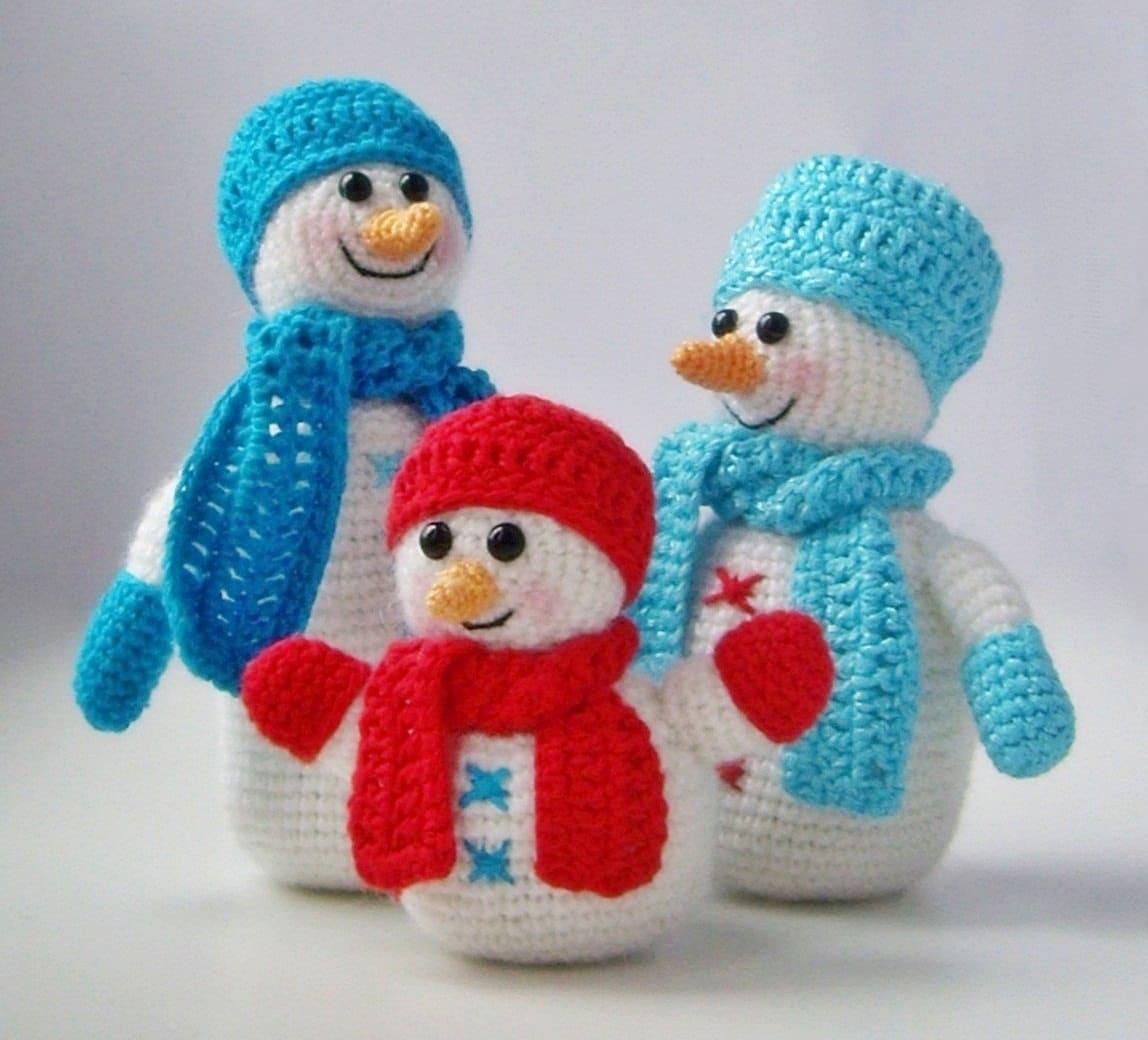 PDF PATTERN amigurumi Snowfamily snowmen company in crochet/