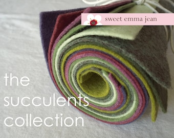9x12 Wool Felt Sheets - The Succulents Collection - 8 Sheets of Felt