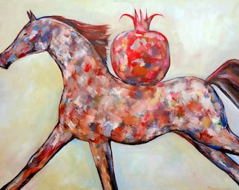 BROWN HORSE RUNNING oil on canvas bright original painting modern artwork by Elisaveta Sivas