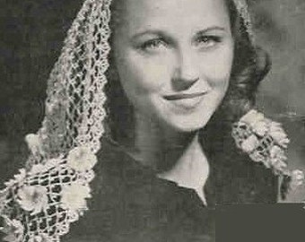 Scarf  Mantilla Headdress - Crochet Fascinator 1945  Vintage Crochet Pattern PDF