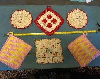 Vintage Lot of 6 Doilie Potholders Crochet multi colored New Old Stock