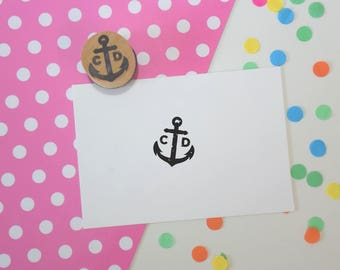 Anchor Couple Monogram Stamp - Favor stamp - Custom rubber stamp - wedding stamp - save the date - wedding rubber stamp