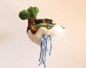 Waldorf Mobile, Felted Wishing Well, Rustic Baby Crib mobile ornament, Jewelry Pillow, house warming gift, felted tree, felted story toys