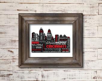 Cincinnati Ohio / Reds Bengals Cyclones / Word Art Typography / Wall Art / Silhouette Sykline / Oktoberfest Servatii's Graeter's Queen City