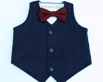 Mathis Boys Navy Blue Vest, Baby Boy Navy Vest, Toddler Blue Vest, Ring Bearer Outfit, Boys Navy Vest, Boys Vest,  Page Boy Outfit,