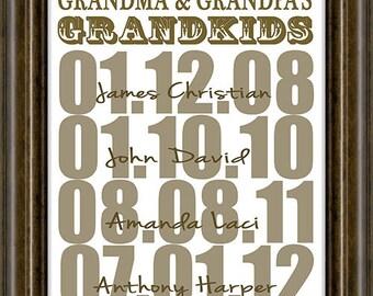 Christmas Gift - Personalized  Gift - Gifts For Grandparents - Personalized Grandparent Print - Gifts From Grandchildren - Grandparent Gift