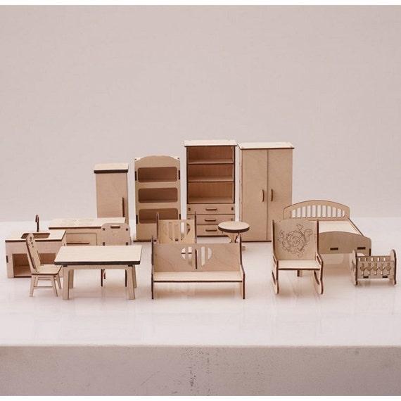 ensemble complet de mobilier pour maison de poup es mobilier. Black Bedroom Furniture Sets. Home Design Ideas