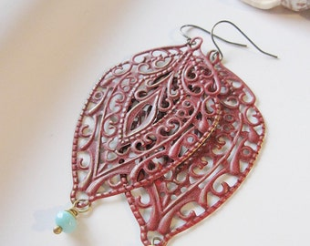 Red Bohemian Earrings, Moroccan, Long, Filigree Design, Oval, Boho Style, Tribal, Redpeonycreations