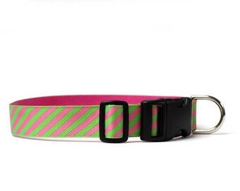 1 Inch Wide Dog Collar with Adjustable Buckle or Martingale in Power Tie in Lime and Raspberry