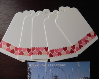 Valentine's day collection: 10 in strong white 4 x 7 cm decorated with hearts