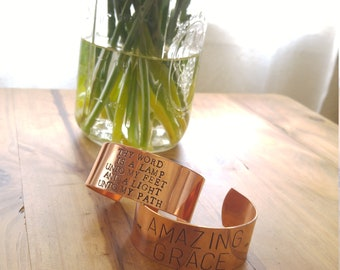 Copper Cuff Bracelets, Christian, Amazing Grace, Thy Word is a Lamp Unto my Feet and a Light Unto my Path, Hand Stamped, 1 Inch Cuff, Gift