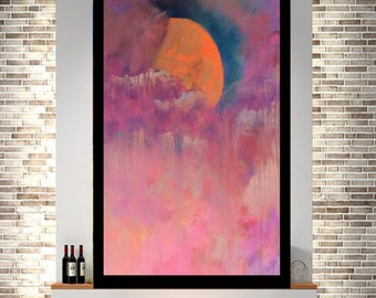 Pink Moonlight, paper print Large Wall Art, Abstract,Painting, paper art, Large, Abstract Art, Modern, Giclee Print, modern Art, abstract