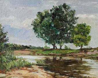 Oil painting landscape IMPRESSIONISM Original painting Plein air painting River landscape Summer art Green Oil on cardboard by A. Onipchenko