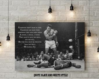Muhammad Ali Fights Sonny Lipton, Inspirational Art, Quote Custom Raised Canvas Art